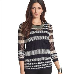 {Chico's} Sequin Striped Open Weave Sweater